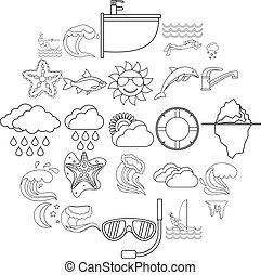 Water icons set, outline style - Water icons set. Outline...