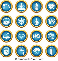 Water icons set, simple style