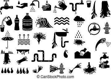 water icons vector set (design elements - watering can, faucet, droplet, cloud and rain, fire hydrant, shower head, kitchen sink, umbrella, glass, waterfall)