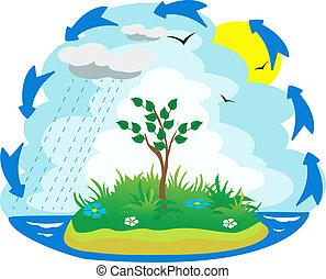 water, illustratie, cyclus