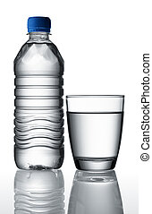 water in bottle and glass - mineral water separated in ...