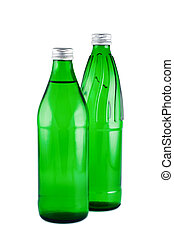Water in bottles isolated white. Clipping path.