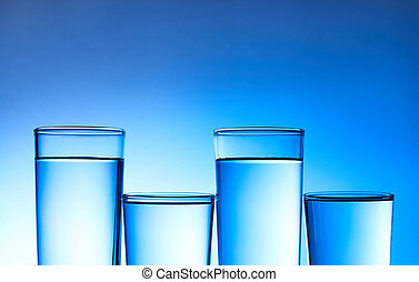 Water in glass on background.