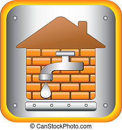 water in house - tap to the house and the bricks
