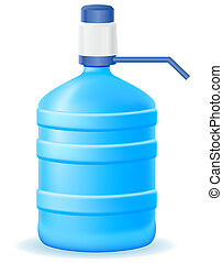 water in plastic bootle with a hand pump vector illustration...