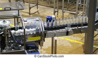 water, industrie, fles, conveyor