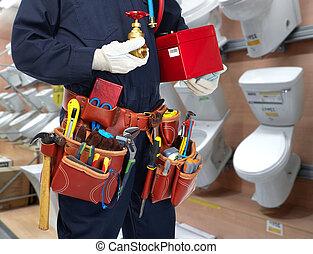 water, installatiebedrijf, handen, tap.
