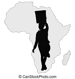 Water is life - Symbolic illustration of an African woman ...