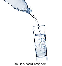 Water is poured into a glass from a bottle