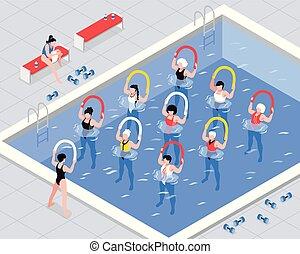 water, isometric, stand, illustratie, aerobics