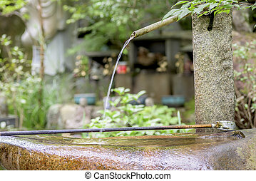 water, japan, spout, waterspreeuw, tempel
