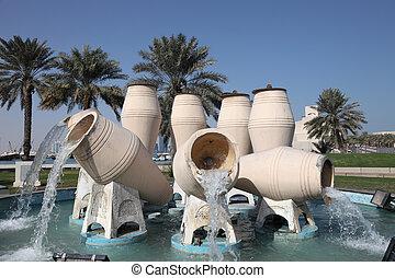 Water jar fountain at the corniche of Doha, Qatar