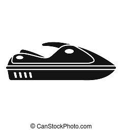 Water jet ski icon, simple style