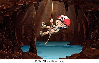 water, jongen, grot, ontdekkingsreis