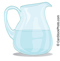 A glass Water jug isolated on white.