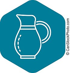 Water jug icon, outline style - Water jug icon. Outline ...