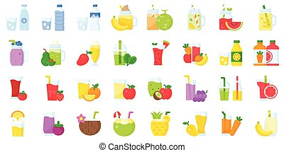 Water Juice and Smoothie vector icon set, flat style