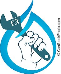 Water key in hand symbol vector - Water wrench in hand for...