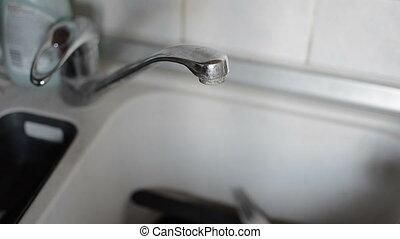Water kitchen sink close up