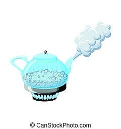 water, koken, ketel, stoom, glas