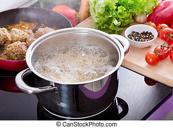 water, kokende pot, het koken, spaghetti