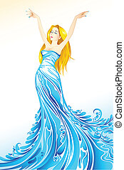 Water Lady - illustration of lady coming out of splash of ...