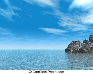 rocks - water landscape with rocks - 3d illustration