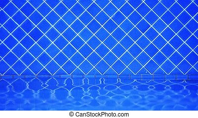 Water Lapping at Tiled Wall of Swimming Pool