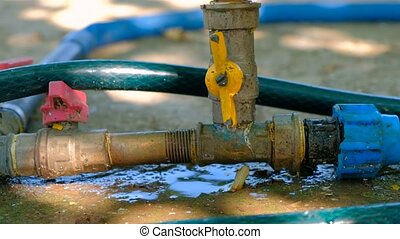 Water leak in garden pipe system