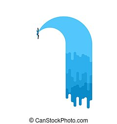Water leak isolated. Sewerage is broken. Vector illustration
