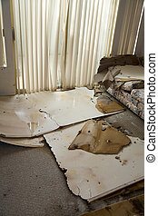 Water leaking damaged home - Home Interior Water leaking...