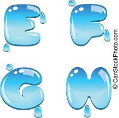 water, lettertype, type, e, om te, h