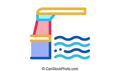 water level meter Icon Animation. color water level meter animated icon on white background