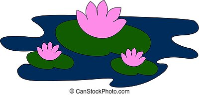 Water lilies, illustration, vector on white background