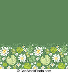 Vector water lillies horizontal seamless pattern ornament background with hand drawn flowers and leaves.