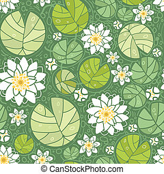 Vector water lillies seamless pattern background with hand drawn flowers and leaves.