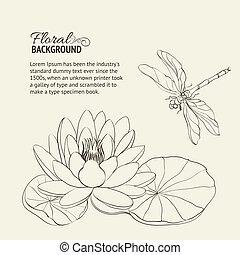 Water Lily and dragonfly. - Water Lily and dragonfly sepia....