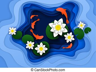 Water lily background vector paper art illustration