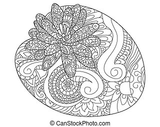 Water lily flower coloring book raster illustration. Anti-stress coloring for adult. Zentangle style. Black and white lines nenuphar. Lace pattern