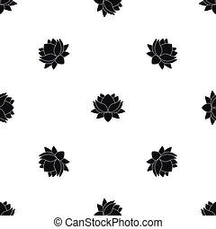 Water lily flower pattern seamless black