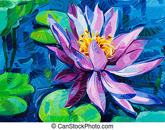 Water Lily - Original oil painting of beautiful water lily(...