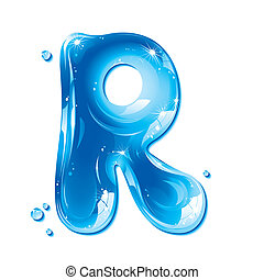 Water Liquid Letter - Capital R - Liquid Alphabet Gel Series...