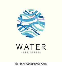 Water logo design, brand identity template, ecology element for poster, banner, card, presentation vector Illustration on a white background