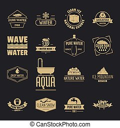 Water logo icons set, simple style