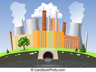 water, lucht, fabriek, vervuiling