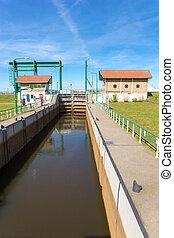 Water management Lemster lock in Friesland netherlands -...