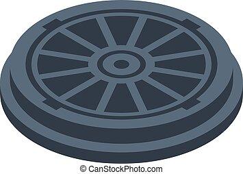 Water manhole icon, isometric style