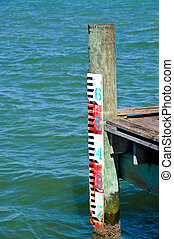 Water Mark Gage on Fishing Pier
