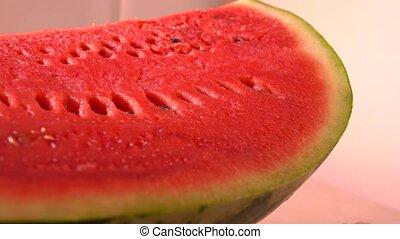 Water melon closeup 4K pan shot - Cut water melon closeup 4K...