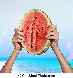 water-melon, sappig
